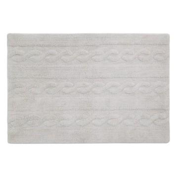 Alfombra trenzas gris perla 80x120cm