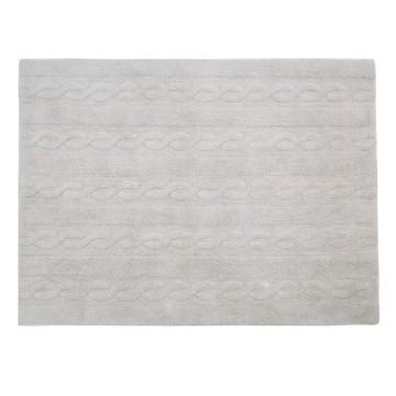 Alfombra trenzas gris perla 120x160cm