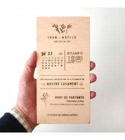 Invitación boda 10x20cm 'Calendario'