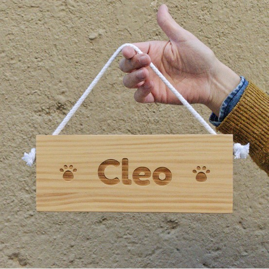 "Cartel con cuerda ""mascotas"" (25x10cm)"