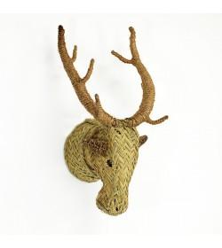 Cabeza ciervo de esparto