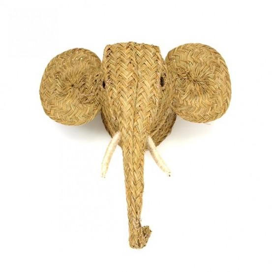 Cabeza elefante de esparto