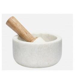 Mortero madera y mármol