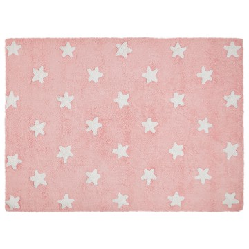 Alfombra estrellas rosa blanco 120x160cm
