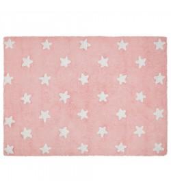 Alfombra estrellas rosa-blanco 120x160cm